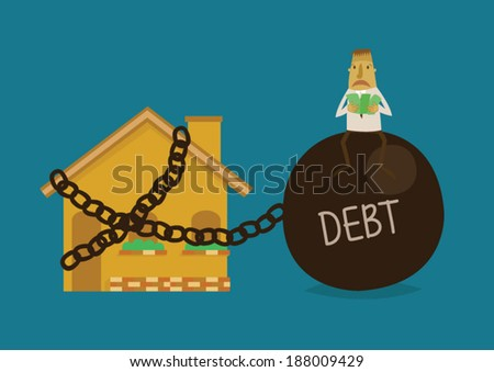 Business man enough have money for pay debt of house  - stock vector