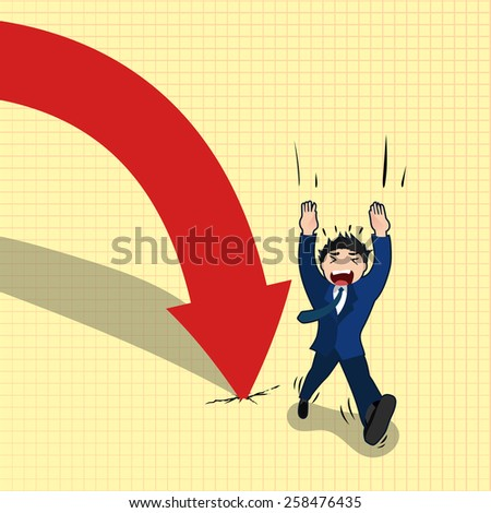 business man escapes from falling arrow, business concept in bankruptcy or going down economy  - stock vector