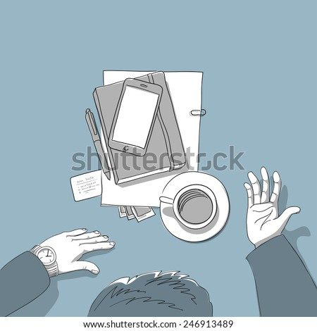 Business man explains business by coffee - hand drawn illustration - stock vector
