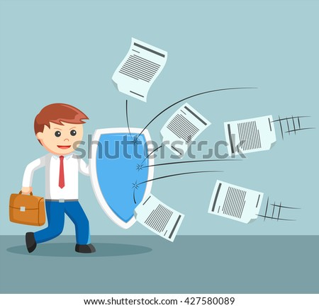 Business man fight for a lot of work - stock vector