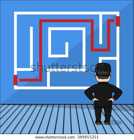 Business man find a good way - stock vector