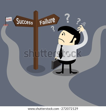 Business man finding the way to success standing at crossroad, get goal concept, target concept, - stock vector