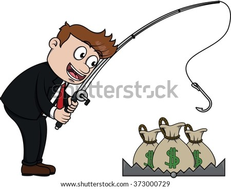 Business man fishing the money from trap - stock vector