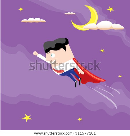 business man flying in sky. vector illustration. Businessman is superhero - stock vector