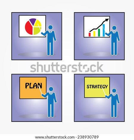business man focus to control and continuous improvement method for business process vector, business man points to word vector                 - stock vector