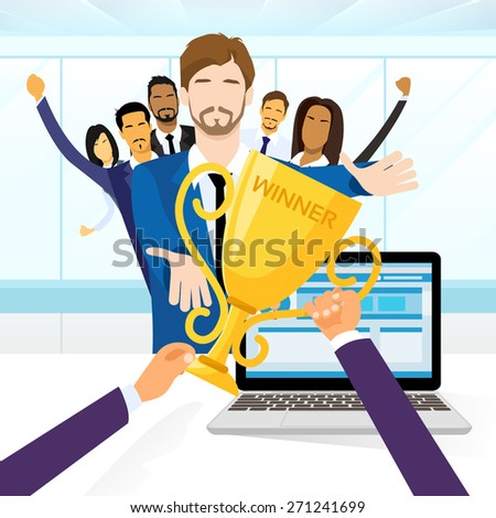 Business Man Get Prize Winner Cup, Businesspeople Group Team Leader Flat Vector Illustration - stock vector