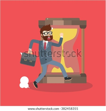 Business man getting late - stock vector