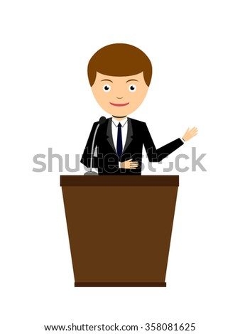 Business man give a speech character, Eps10, vector illustration. - stock vector