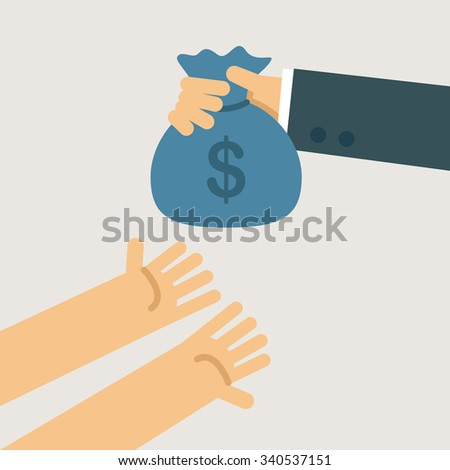 Business man give the money to poor a man. Business concept illustration. - stock vector