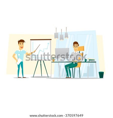 Business man giving a presentation. Flat vector illustration. - stock vector
