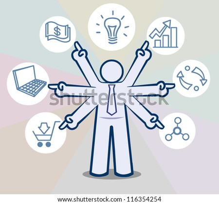 business man giving presentation of development,vector concept