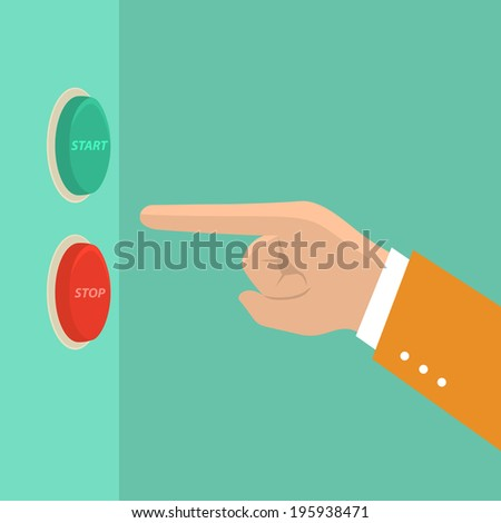 business man hand choose red or green button,illustration,vector - stock vector