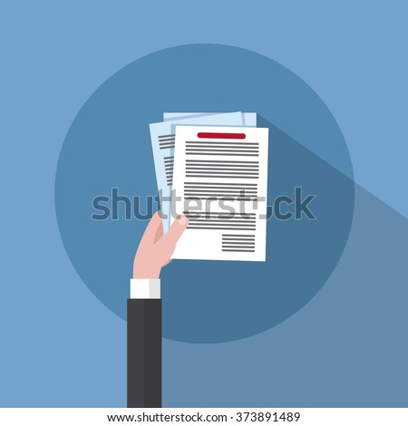 Business Man Hand Hold Paper Documents, Sign Up, Contract Agreement Concept Vector Illustration - stock vector