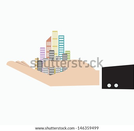 business man hand holding skyscraper cityscape business concept  - stock vector