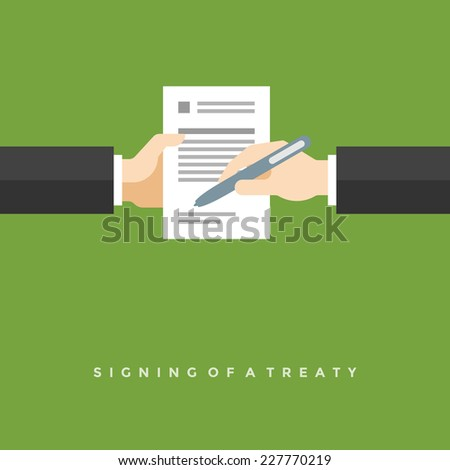 Business man hands holding contract and pen, signing of a treaty business contract flat design vector illustration - stock vector