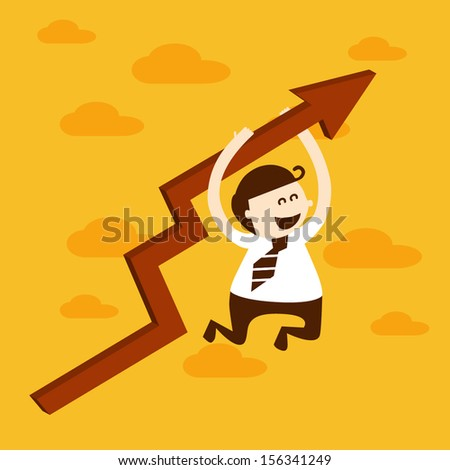 Business man hanging graph up, EPS10 vector format - stock vector