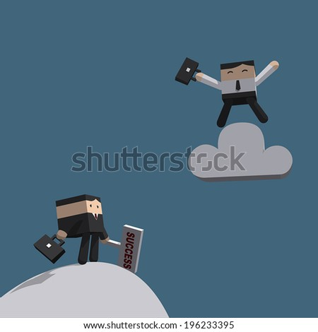 Business man happy on cloud, More than success and cloud technology concept, Vector illustration EPS10 - stock vector
