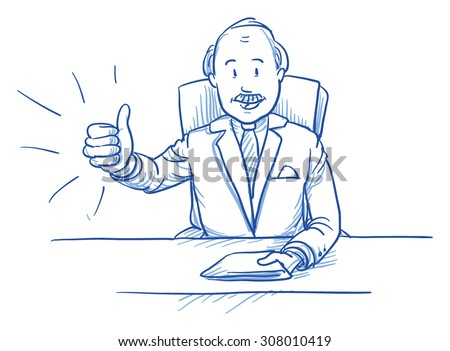 Business man, happy smiling boss, sitting at his desk showing like, thumbs up, hand drawn doodle vector illustration - stock vector