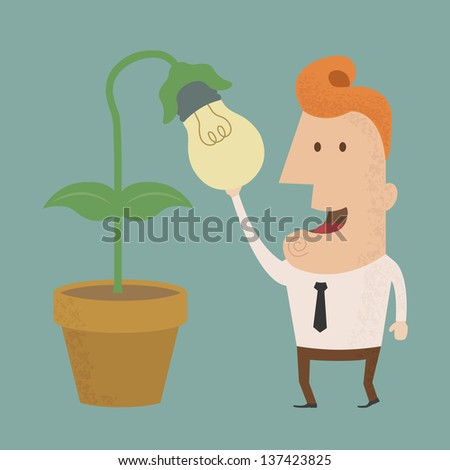 Business man harvest of thought , eps10 vector format - stock vector
