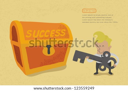 Business man has key to success , eps10 vector format - stock vector