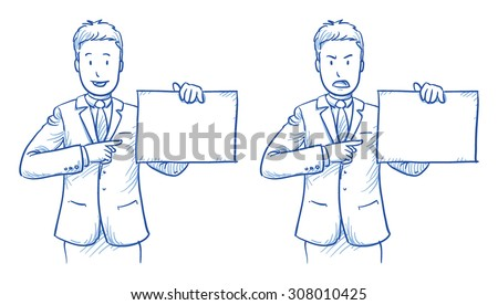 Business man holding a sheet, sign in two emotions, happy and angry, hand drawn doodle vector illustration - stock vector