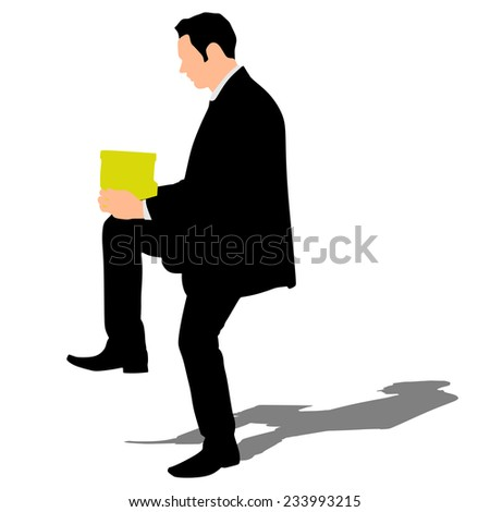business man holding box, vector