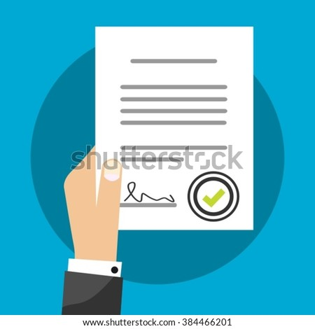 Business Man Holding Contract Agreement Vector Illustration Signed Treaty Paper, Legal Document Symbol With Stamp, Documentation Flat Sign Modern Design Isolated - stock vector