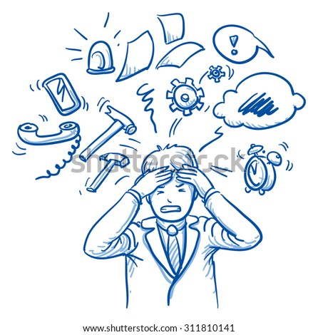 Business man holding his head in pain, surrounded by work icons, concept for stress, burnout, too much work, hand drawn doodle vector illustration - stock vector
