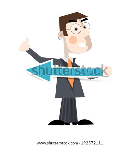 Business Man Holding Paper Arrow Vector Illustration