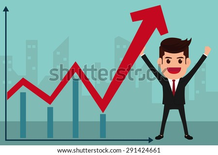 Business man holds in hand to raise the graph. Cartoon Vector Illustration. - stock vector