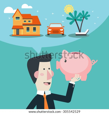 Business man holds piggy bank in his hand and dreams about house, car and holiday. Saving and investing money concept. Future financial planning concept. Modern vector design flat style. - stock vector