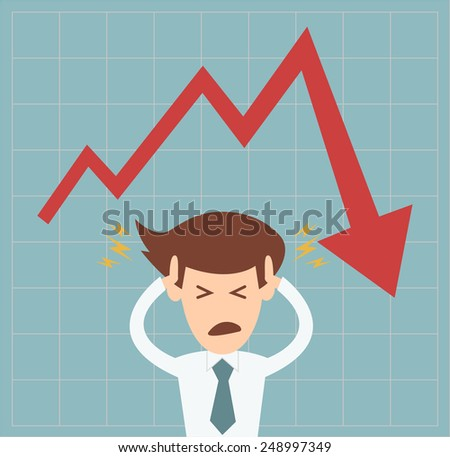 business man in crisis of graph falling down concept vector illustration - stock vector