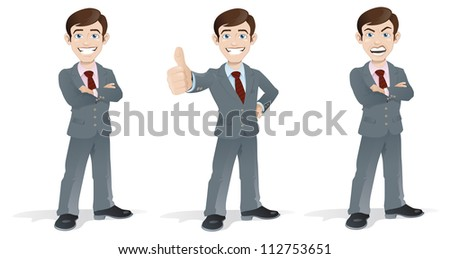 Business Man in Poses - stock vector