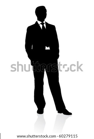 Business man in suit and tie silhouette. Vector illustration - stock vector