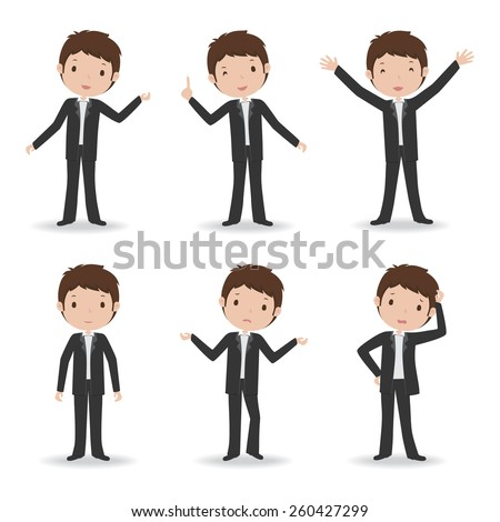 Business man in various poses. Vector illustration.