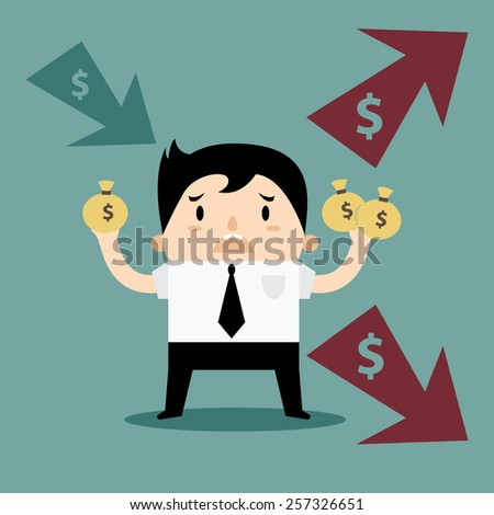 Business Man Income and Expense personal finance - stock vector