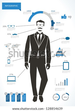 Business man infographic with hipster elements - stock vector