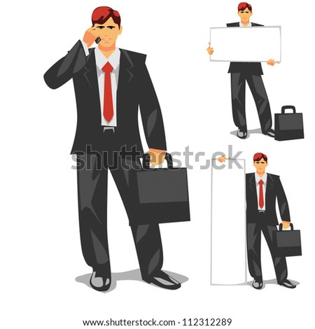 Business Man is a 3 in 1 illustration: with phone and suitcase, with horizontal panel, with vertical panel.