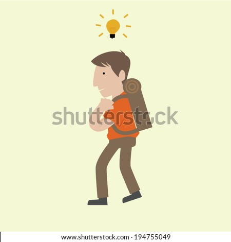 Business man is going to travel relax and seek for inspiration. - stock vector