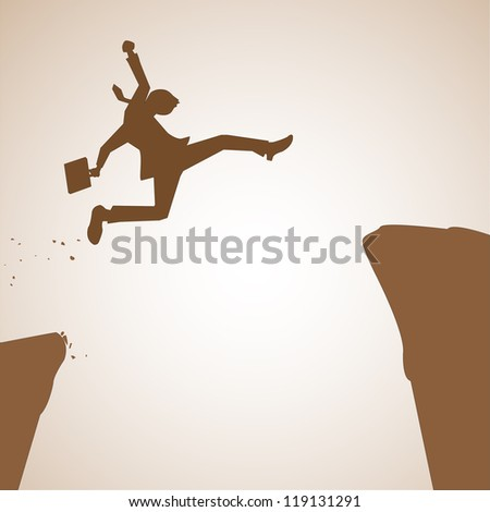 Business man jumping over abyss in concept of overcome problem or obstacle to success or future. Vector illustration. - stock vector