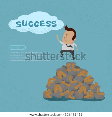 Business man jumping over the Failure go to success , symbolizing the overcoming of an obstacle and achieving your goals  , eps10 vector format - stock vector