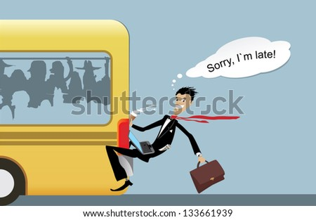 business man late - stock vector