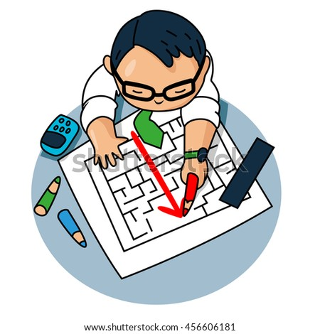 Business man looking at hand drawing solution for maze solution concept - stock vector