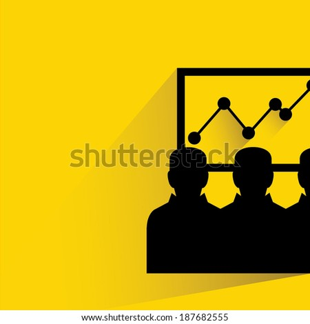 business man looking at the growth graph, training on yellow background, shadow and flat style - stock vector
