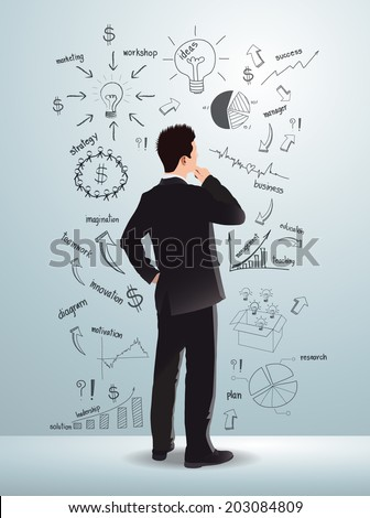 Business man looking creative drawing charts and graphs business success strategy plan idea, Inspiration concept modern design template workflow layout, diagram, step up options, Vector illustration - stock vector