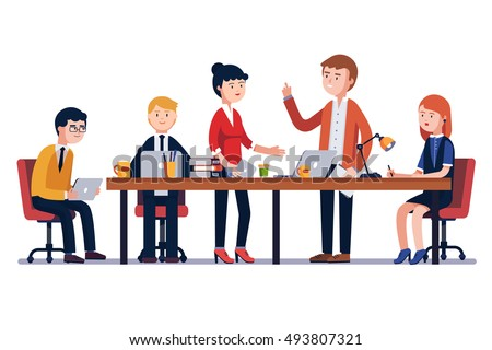 business man meeting big conference desk stock vector hd royalty rh shutterstock com business meeting clip art free business meeting clip art images