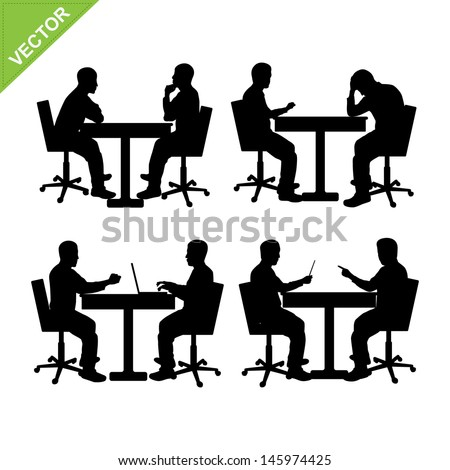 Business man meeting silhouette vector - stock vector
