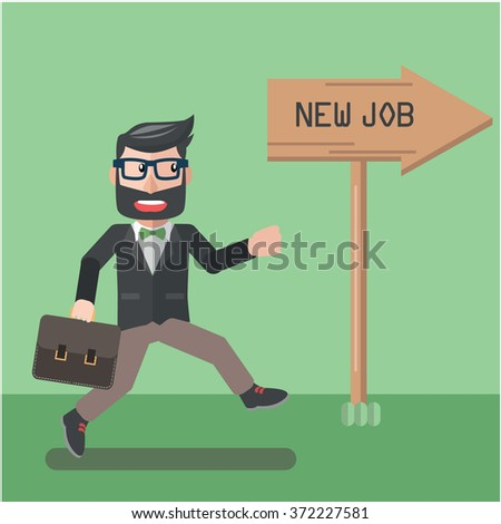business man new job - stock vector