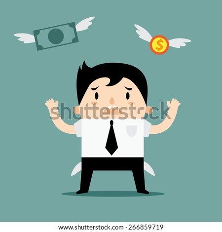 Business man No money in pocket anymore - stock vector