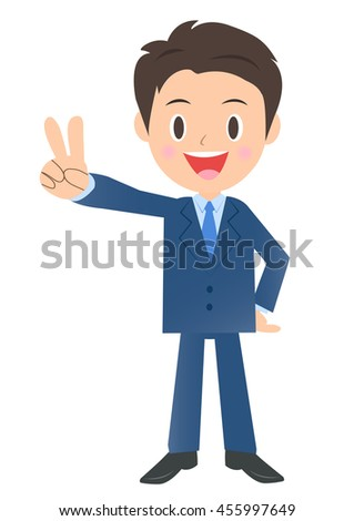 Business man of peace sign